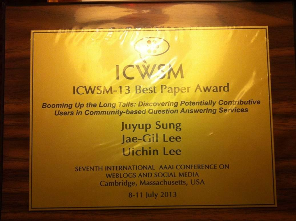 ICWSM-13 Best Paper Award